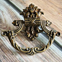 Victorian Ring Pull Keeler Brass Co Decorative Drawer Pull Vintage Drawer Pull Brass Drawer Pull Baroque Antiqued Gold Dresser Drawer Pulls