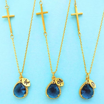 Set of 1-4, Personalized, Letter, Initial, Sideways, Cross, Navy, Blue, Gold, Silver, Necklace, Sets, Set, Jewelry, Wedding, Gift