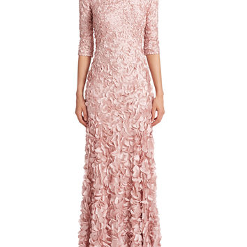 Theia Petal-embellished Satin Gown - Dusty Rose