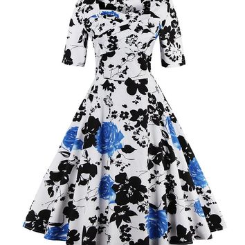 Streetstyle  Casual Vintage Sweet Heart Floral Printed Plus Size Flared Dress