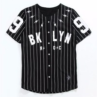 Men Striped Baseball Jersey