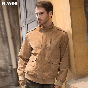 Men's real leather jacket Genuine Leather jacket men vintage leather coat work clothes