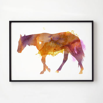 Horse print Splash poster Animal decor Watercolor print 2EM096