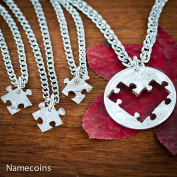 4 Piece Puzzle Heart Necklaces, Best Friends or Family Jewelry