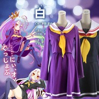 Purple Blue Cosplay No Game No Life Shiro Emboitement Heroine Sailor Suit (top+ skirt+ Bow tie+ shoulder tape+ oversleeve+sock)