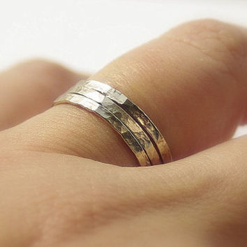 White gold filled simple hammered wedding bands, custom wedding rings for her, womens rings, bands set, love rings