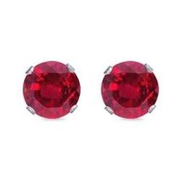 Spectacular Round Cut Red Ruby AAAAA Cubic Zirconia Stud Earrings