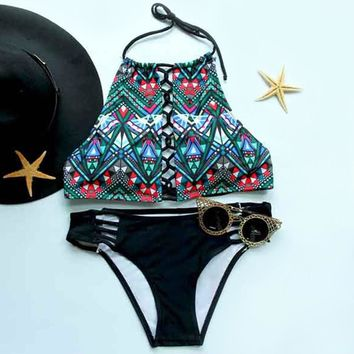Women's Stylish Halter Printed Cut Out Bikini Suit