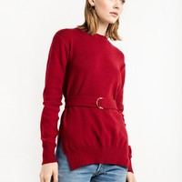 SCARLET RED BELTED SWEATER