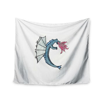 "NL Designs ""Water Dragon"" Blue White Wall Tapestry"