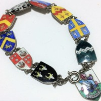 Bermuda Enamel Souvenir Charm Bracelet County Parish Shields Silver Tone Links Vintage Mid Century Jewelry Cruise Vacation Wear 518