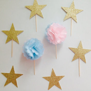 Baby shower pom cupcake topper | pink and blue | tissue paper pom pom | baby shower | gender reveal cake topper cupcake topper