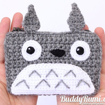 Finished item: Totoro crochet wallet with two compartments Ready to ship