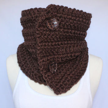 Wool Blend Chunky Cowl with Buttons - Brown