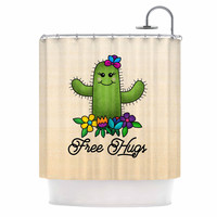 "Noonday Design ""Free Hugs Cactus"" Green Pastel Shower Curtain"