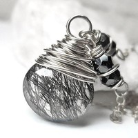 Tourmalinated Quartz Necklace, Sterling Silver Black Rutilated Pendant