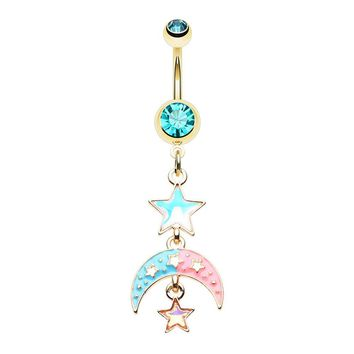 Golden Pastel Moon Star Belly Button Ring 14ga Surgical Steel Navel Ring