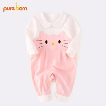2018 Newborn Rompers Cute Toddler Baby Girl Cat Long Sleeve Baby Clothes Playsuit Outfits Clothes 0-24Months Pureborn