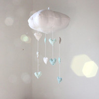 NEW Winter Mint and Silver Heart Cloud Mobile - Childrens fabric mobile sculpture decoration for baby nursery