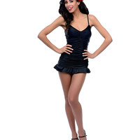 Black Ruched & Skirted Lana Two Piece Swimsuit