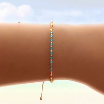 Aqua Crystal Friendship Bracelet - Best Friend Gift - Best Friend Bracelet - Bridesmaid Gift - Beaded Bracelet - Boho Jewelry