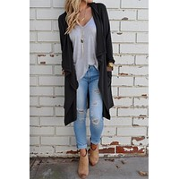 Women Casual Solid Color Medium Long Section Long Sleeve Irregular Cardigan Coat