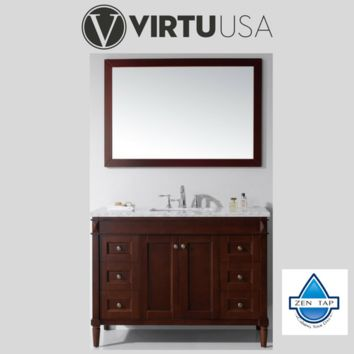 "Tiffany 48"" Single Bathroom Vanity in Cherry with Marble Top and Square Sink"