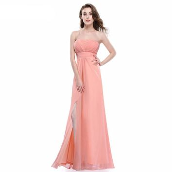 Peach Strapless Bridesmaid Dresses Ever Pretty Pleated Style Full Length Chiffon Prom Gowns