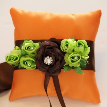 Orange Brown Ring Pillow for Dogs, Wedding Dog Accessory, Ring Bearer Pillow