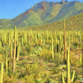 Valley of Saguaros Landscape Fine Art Photography Painting Arizona Photo Painting Print