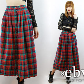 Vintage 90s Grunge Skirt Plaid Midi Skirt Tartan Plaid Skirt High Waisted Skirt 90s Tartan Skirt Red Plaid Skirt Maxi Skirt