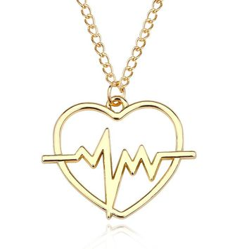 Simple ECG Love Heart Charm Pendant Chic Electrocardiogram Heartbeat Women Choker Necklaces Fashion Jewelry Drop Shipping