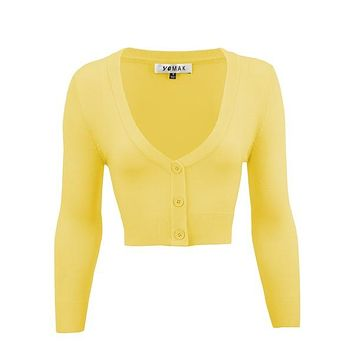 MAK V neck Cardigan Sweater Baby Yellow