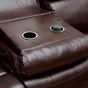 Norma Transitional Bonded Leather Recliner Sofa, Dark Brown