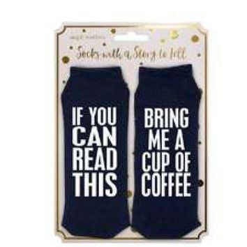 If You Can Read This... Coffee Argyle Statement Socks by Simply Southern