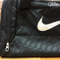New Women's Nike Duffle Bag Blinged with Swarovski Elements Crystal Rhinestones Black Includes Original Tags - Backpack Bag Purse