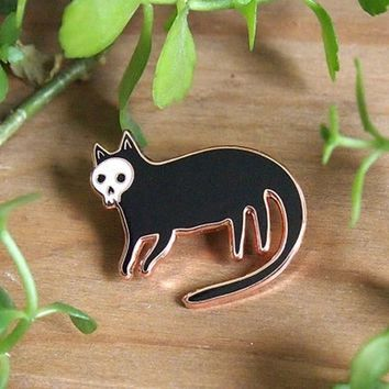Cute Skull cat enamel pin brooch - Cat pin - Enamel pin - Enamel cat pin - I like cats - Cat lapel pin - Cat jewellery - Cat gif