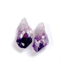 Raw amethyst drop stud earrings