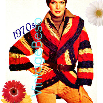 Instant Download - Crochet PATTERN BOHO Circle Wrap Cardigan 70s Vintage Top Bohemian Clothing Jacket Sweater Hippie - PDF Pattern