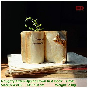 Creative Book & Cat Design Flower Pot Decoration