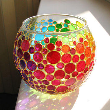 Rainbow Bubbles Hand Painted Vase, Glass Sphere Vase, Candle Holder, Tea light holder, Mother's  Day Gift, Wedding Favors