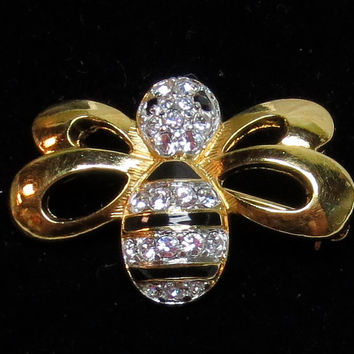 Vintage Bee Pin Swarovski Pin Estate Jewelry Signed Swarovski Crystals Black and Gold