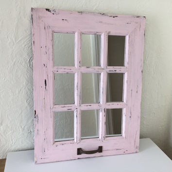 Large mirror rustic window mirror, distressed light pink, 9 panel