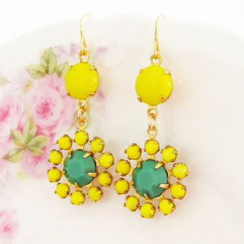 Vintage Apple Green and Lemon Yellow Rhinestone Jewel Flower Dangle Earrings