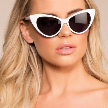 Modern Day White Cat Eye Sunglasses