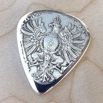Handmade Premium Coin Guitar Pick -  Made With an 1865 Antique German Silver Thaler Coin