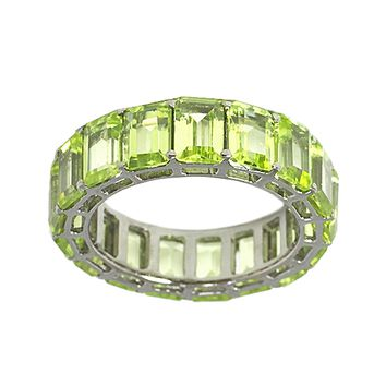 10.31tcw Emerald-Cut Floating Peridot in 925 Sterling Silver Eternity Band