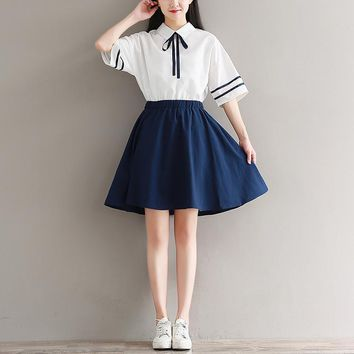 japanese mori girl splicing cute dress 2017 new summer women short sleeve cotton dresses female casual navy blue vestidos