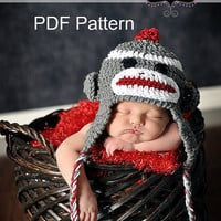PDF Crochet Sock Monkey Hat Pattern, file sent via email. Includes sizes 0-3 months and 3-6 months