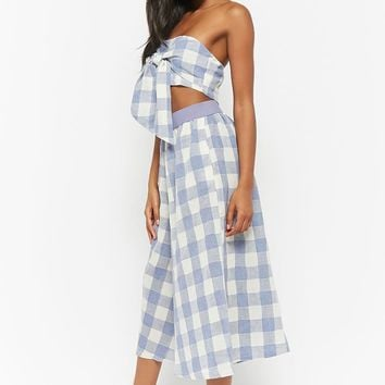 Buffalo Plaid Tube Top & Culotte Set